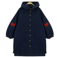 Buttoned Down Denim Trench Coat with Embroidery Detail