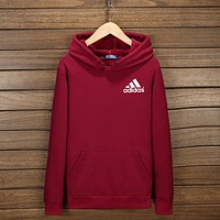 "Inseva ""Adidas"" Women Men Fashion Hooded Top Pullover Sweater Sweatshirt Hoodie Wine red I-YSSA-Z"