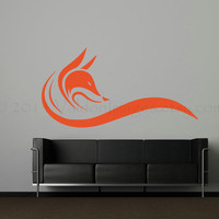 Fox wall decal, wall sticker, decal, wall graphic , living room decal, vinyl decal in black, vinyl graphic wall decal, graphic, sticker