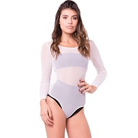 Long Sleeve Sheer Snap Button Bodysuit