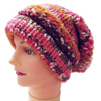 Pink Slouchy, Purple Slouchy, Brown Slouchy, Yellow Slouchy, White Slouchy, Colorful Hat, Chunky Hat, Multicolor Hat, Warm Hat, Knit Hat