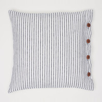 Washed linen cushion cover - White/gray striped - Home All | H&M US