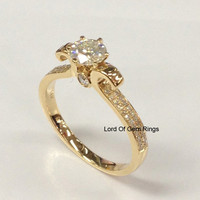 Round Moissanite Engagement Ring Pave Diamond Wedding 14K Yellow Gold 5mm