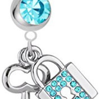 14g Surgical Steel Lock and Key Light Blue Cubic Zirconia Jeweled Dangle Belly Button Ring