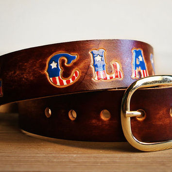 Custom Leather Belt - Custom Leather Name Belt with American Flag Letters / Personalized / Fourth of July American Flag Belt 4th of July