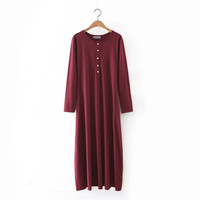 2016 Trending Fashion Long Sleeve Round Necked One Piece Dress  _ 9809