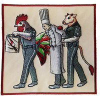 """Murder Chef"" Funny Vegetarian Humor Chicken & Cow Police - Novelty Iron On Patch Applique  HS P - CHL - 0097"