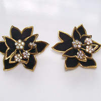 Classy MidCentury French Clip Earrings,Black Suede Flowers with Rhinestones and Gold Trim, Unique Statement Earrings Made in France