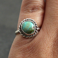 Vintage Navajo Sterling Silver & Turquoise Ring Native American Jewelry