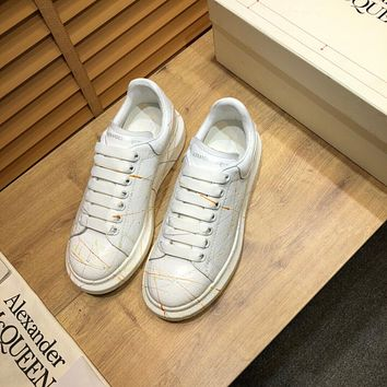 ALEXANDER MCQUEEN Women's Leather Fashion Low Top Sneakers Shoes