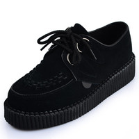 Handmade Women's Geniune Suede Leather Black Lace UP Flat PlatForm Fashion Sexy Goth Creepers Punk Wedge Creeper Shoes Boots Pumps
