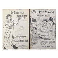 Pre-owned Classic French Song Sheets Circa 1900 - A Pair