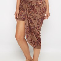 Light Brown Rosy Faux Suede Knotted Skirt   Midi   rue21