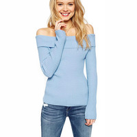 Off Shoulder Long Sleeves  Knitted Top