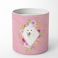 Japanese Spitz Pink Flowers 10 oz Decorative Soy Candle CK4229CDL