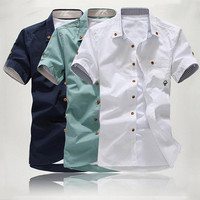 Fashion Men Short Sleeve Dress Shirt