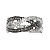 Sterling Silver .01 TCW Black & White Diamond Ring - Criss Cross Weave Design