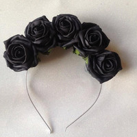 Black lana del rey faux black rose flower crown gothic pin up headband:one size fits all