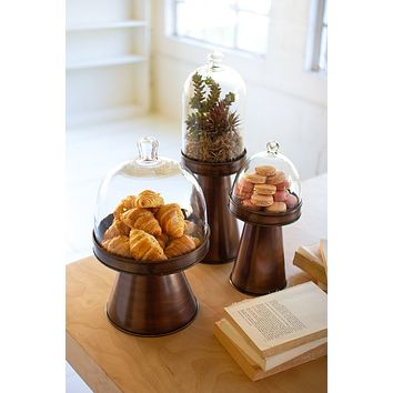 Set Of Three Glass And Metal Display Stands - Copper Finish