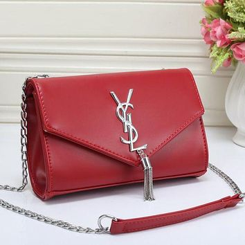 YSL fashionable women's fashion tide brand leather Messenger bag F Red