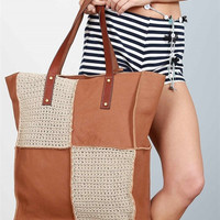 Woven knit leather tote bag