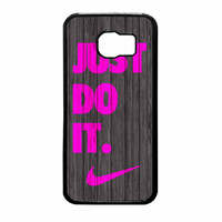 Nike Just Do It Wood Colored Darkwood Wooden Pink Samsung Galaxy S6 Case