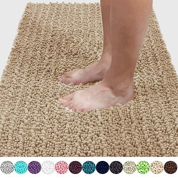 Yimobra Original Luxury Shaggy Bath Mat, Soft and Cozy, Super Absorbent Water, Non-Slip, Machine-Washable, Thick Modern for Bathroom Bedroom (44.1 X 24 Inch, Beige) 44.1 x 24 Inch