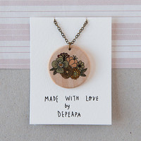 Flowers - illustrated wooden necklace