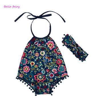 New 2016 Summer Baby print  Romper Baby Girl Rompers  Baby Jumpsuit Infant Newborn Baby Clothes With Headband