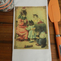Cat Lover Towel Victorian Dressed Kittens Flour Sack Tea Towel
