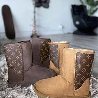 UGG LV Louis Vuitton Men's and women's warm and ski boots shoes