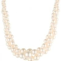 """Colored Simulated Three Strand Twisted Pearl Necklace, 18"""""""