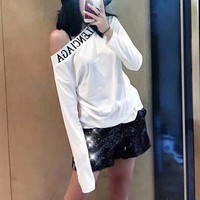 """Balenciaga"" Women All-match Fashion Letter Off Shoulder Long Sleeve T-shirt Bottoming Tops"