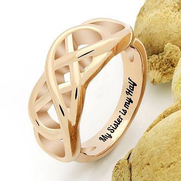 "Sister Double Infinity Ring for Best Sister Infinity Sister Ring, Promise Ring ""My Sister is My Half"" Engraved on Inside"