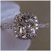 3 cttw  2 ct Center Cushion Cut NSCD SONA Diamond Engagement Wedding Ring Sizes 4.5-10