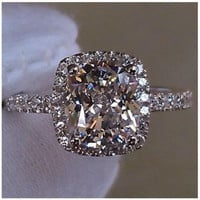 14K White Gold 3 cttw  2 ct Center Cushion Cut NSCD SONA Man Made Diamond Engagement Wedding Ring Sizes 4.5-10
