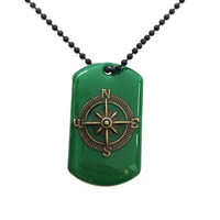 Compass dog tag necklace / green jewelry / compass necklace / dog tag jewelry / mens jewelry / travel jewelry / compass jewelry