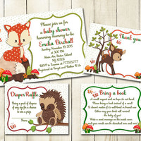 Neutral Woodland baby shower printable invitation set fox hedgehog baby boy girl digital invite with inserts orange green diaper raffle card