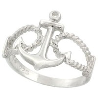 Sterling Silver Anchor Ring 9/16 inch (14 mm) long, sizes 4.5 - 10.5:Amazon:Jewelry