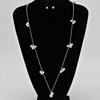 Adorn by LuLu- Crystal Ball and Pearl Necklace