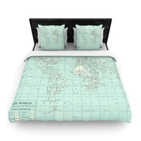 """Catherine Holcombe """"The Old World"""" Blue Teal Woven Duvet Cover"""
