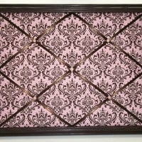 Madison Pink & Brown Damask fabric ~ Framed Memo Board