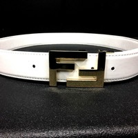 Fendi FF Belt 34 White Gold Leather Cool Sexy Hot Popular Fashion Designer