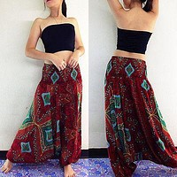 Ladies Comfy Beach Baggy Boho Gypsy Hippie Women Harem Trousers