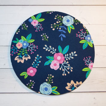 Round Computer Mouse Pad / Mat - Blue floral