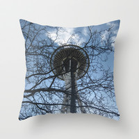 Sunny Seattle • Space Needle Throw Pillow by Teak Bird
