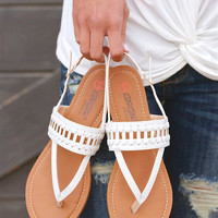 All In Stride Woven Sandals - White