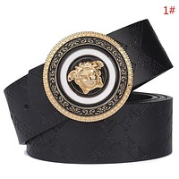 Versace New fashion snake human head buckle leather couple belt 1#