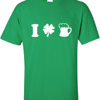 I Heart Love Beer pint pub Drunk saint st Patrick's Paddy's ireland scottish adult T-Shirt Tee Shirt Mens Ladies Womens mad labs ML-295