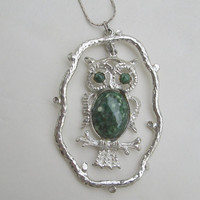 Large Green Art Glass Owl Pendant Necklace Unusual Frame Bird Jewelry